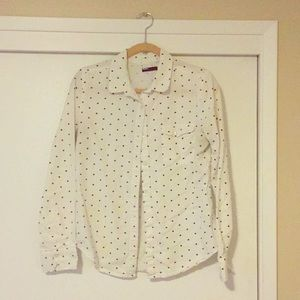 White button down blouse with black polka dots